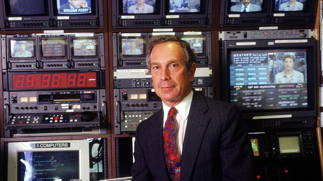 Bloomberg poses for a portrait at his company's television studios in 1994. He created technology that bankers and traders use to access market data.