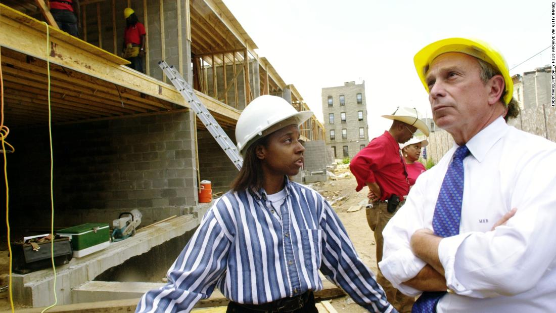 Bloomberg talks with architect Katherine Whitley at a construction site in New York. Bloomberg was running for mayor.
