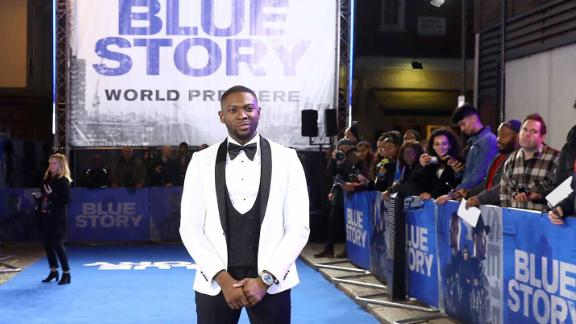 "Writer-director Andrew Onwubolu, aka Rapman, at the world premiere of ""Blue Story"" November 14 in London."