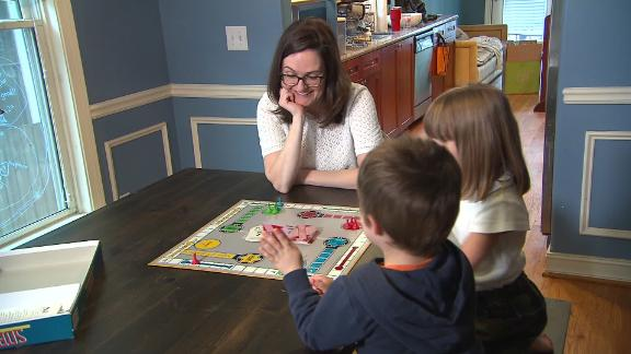 Kristen Nabers of Decatur, Georgia with her two children.
