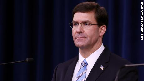 U.S. Defense Secretary Mark Esper holds a news conference at the Pentagon the day after it was announced that Abu Bakr al-Baghdadi was killed in a U.S. raid in Syria October 28, 2019 in Arlington, Virginia.