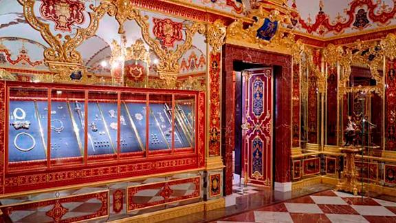 This undated photo provide by the State Art Collection in Dresden on Monday, Nov. 25, 2019, shows the Jewelery Room of the Green Vault with the display cases, left, showing the part of the collection that was affected by the robbery early Monday, Nov. 25, 2019 morning in Dresden. (Staatliche Kunstsammlungen Dresden/David Brandt via AP)