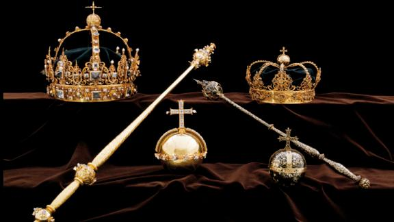 FILE - This file image made available on Wednesday Aug. 1, 2018 by the Swedish Police, shows a collection of Swedish Crown jewels that were stolen from Strangnas cathedral. In a daring daytime heist, thieves in Sweden smashed glass show cases inside a cathedral and snatched 17th-century royal treasures estimated to be worth 65 million kronor ($7 million). A brazen burglary on Monday Nov. 25, 2019 from Dresden