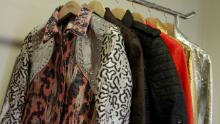 Piñatex jackets including the one developed for H&M's Conscious Exclusive collection (left). (Ivana Kottasova/CNN)