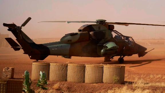 A Eurocopter Tiger helicopter is seen at the French military base in Gao, in northern Mali.