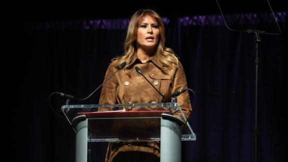 US First Lady Melania Trump addresses the B'More Youth Summit in Baltimore, Maryland, on November 26, 2019. The purpose of the summit is to promote healthy choices and educate students about the dangers of opioid use.