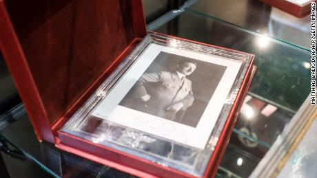 A framed portrait of Adolf Hitler is pictured at the Hermann Historica auction house near Munich, Germany.