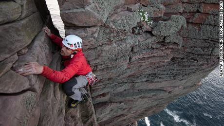 Jesse Dufton climbs the Old Man of Hoy in Scotland