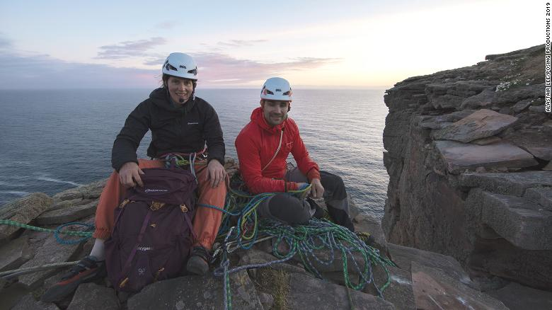 Dufton and Thompson at the summit of the Old Man of Hoy.