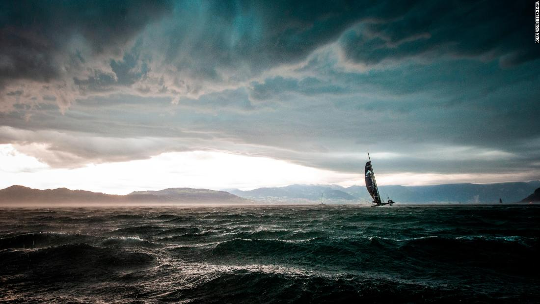 <strong>Loris von Siebenthal. </strong>A D35 catamaran battles an incoming storm during the Bol d'Or Mirabaud on Lake Geneva in June.