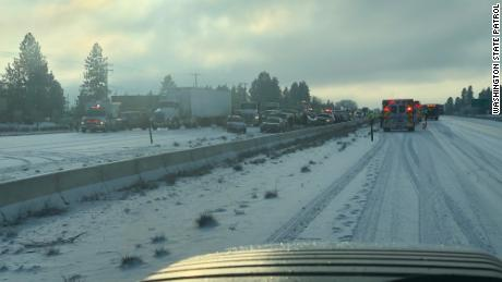Forecasters say a brief snow storm hit the Spokane area on Tuesday afternoon.