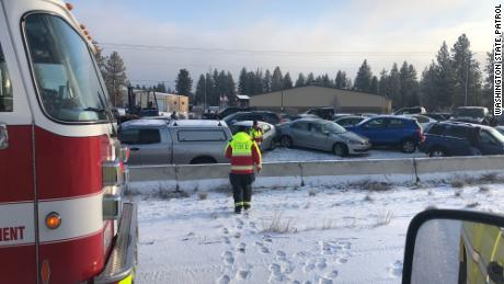 Interstate 90 near Spokane, Washington was completely shut down for several hours on Tuesday.