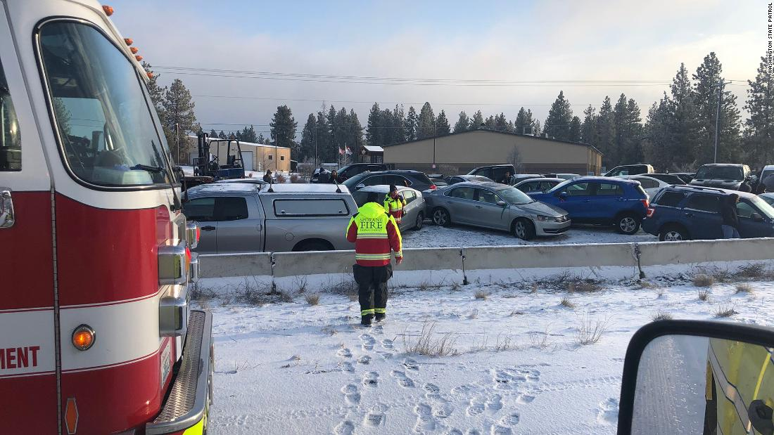 About 60 cars pile up in Spokane crash after snowstorm