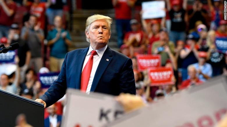 President Donald Trump looks to the crowd as he speaks at a campaign rally in Sunrise, Fla, Tuesday, Nov. 26, 2019. (AP Photo/Susan Walsh)