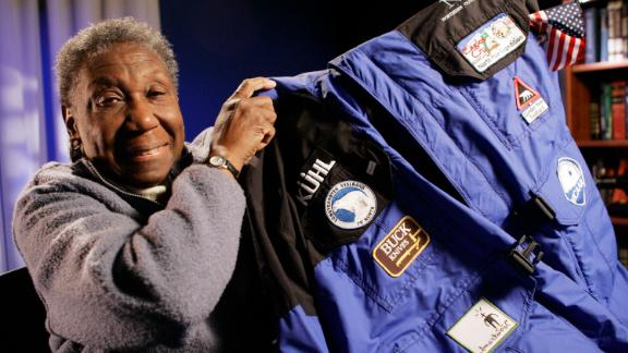 Barbara Hillary shows the parka she wore on her trip to the North Pole.