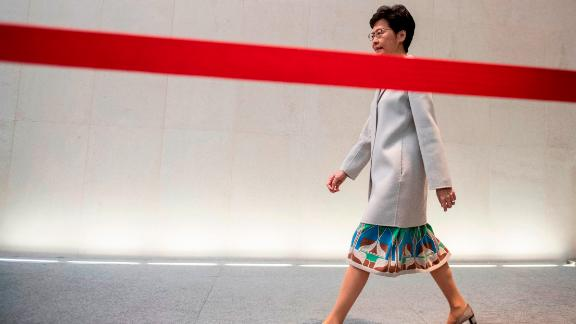 Hong Kong Chief Executive Carrie Lam arrives for a press conference in Hong Kong on November 26, 2019.
