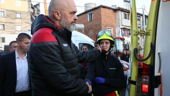 Albanian Prime Minister Edi Rama visits areas affected by the earthquake on November 26.