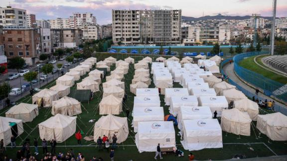 Tents are pitched at the soccer stadium in Durres for those sheltering in the aftermath of the earthquake on November 27.