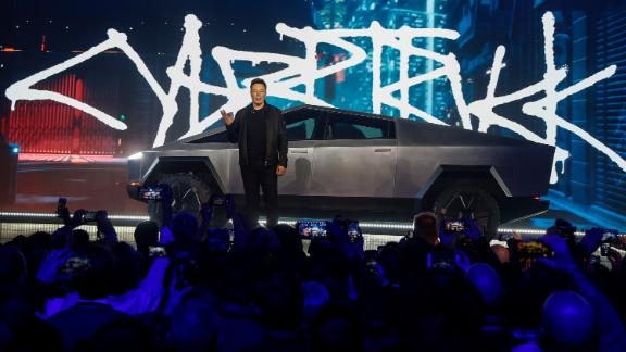 Tesla CEO Elon Musk introduces the Cybertruck at Tesla