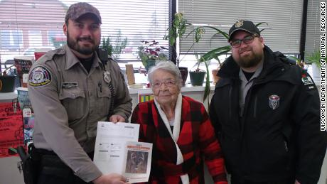 Florence Teeters, an 104-year-old Wisconsin woman, shot a deer in her first time out hunting. She's the oldest person in the state to get her hunting license and harvest a deer the same day.
