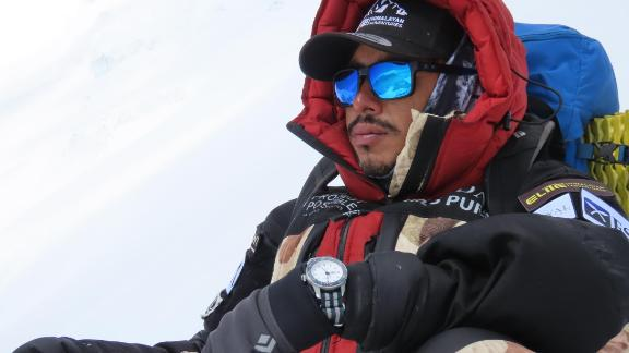 Purja on his ascent of Annapurna 1, the 10th highest mountain in the world at 8,091m.