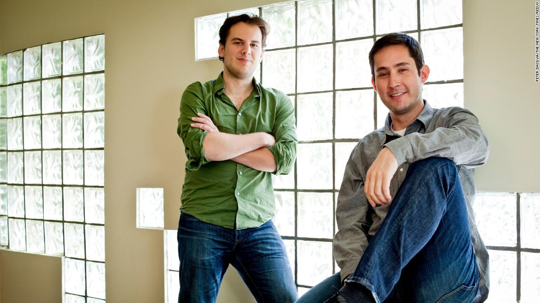 Instagram cofounders Mike Krieger (left) and Kevin Systrom at their office in San Francisco in 2011.