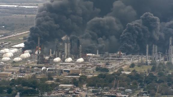 Plumes of smoke are seen after a second explosion at a chemical plant in Port Neches.