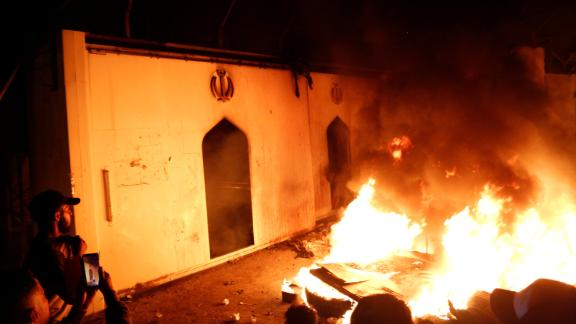Demonstrators set fire in front of the Iranian consulate, as they gather during ongoing anti-government protests in Najaf, Iraq November 27, 2019. REUTERS/Stringer   NO RESALES. NO ARCHIVES