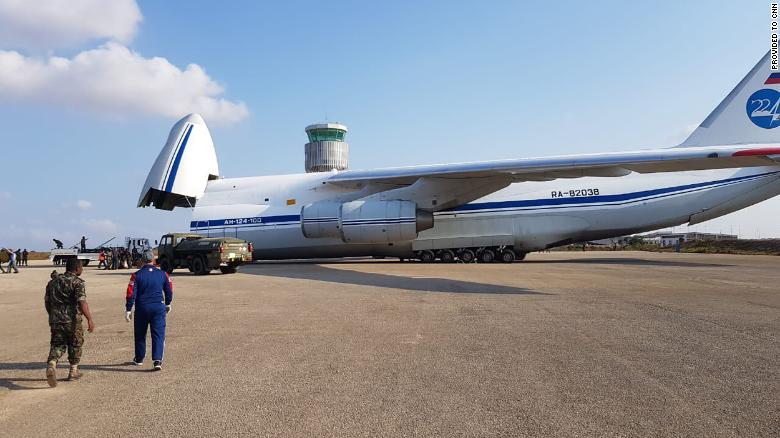 This image, shared widely on social media and verified by a CNN source, appears to show a Russian Antonov An-124 transport plane delivering military hardware to Mozambique in September.