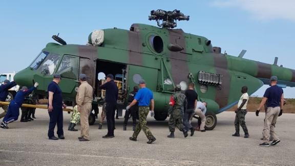 This image, shared widely on social media and verified by a CNN source, appears to show an Mi-17 transport helicopter, part of the military hardware delivery at Nacala in September.