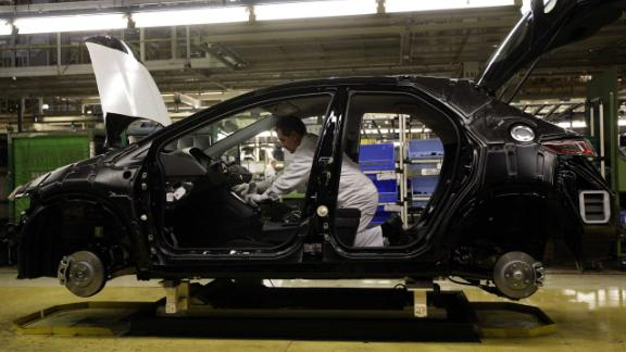 A Honda Civic rolls off the production line at their plant in Swindon   (Photo by Steve Parsons/PA Images via Getty Images)
