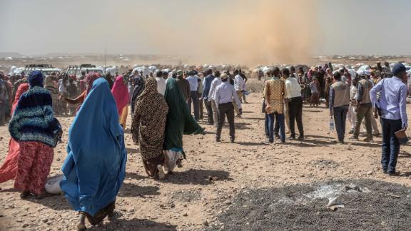 Internally-displaced people pictured in Sudan.