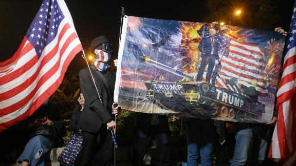 Protesters in Hong Kong held a celebratory, pro-US rally on Thursday.