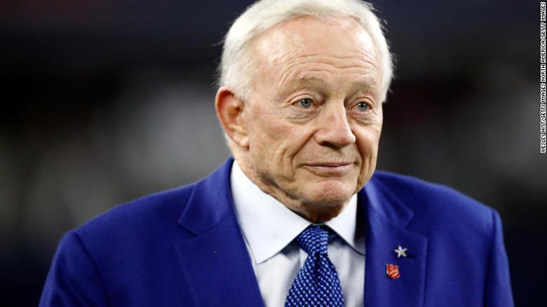 ARLINGTON, TX - NOVEMBER 30: Owner Jerry Jones of the Dallas Cowboys walks on the field before the game against the Washington Redskins at AT&T Stadium on November 30, 2017 in Arlington, Texas. (Photo by Wesley Hitt/Getty Images)