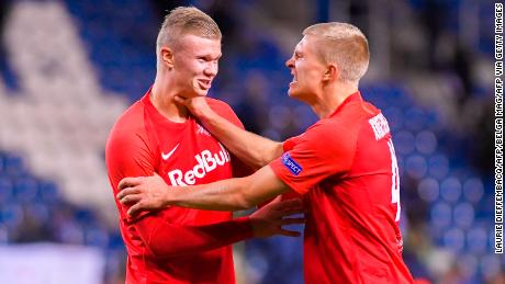 Salzburg's Erling Braut Haland scored again in the Austrian team's decisive win over Genk in the Champions League group stage on Wednesday night.