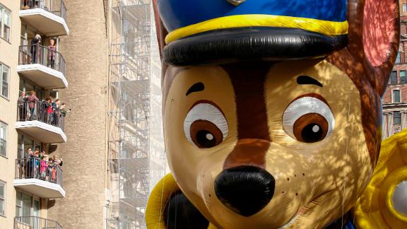 """A """"PAW Patrol"""" balloon makes its way down the parade route."""
