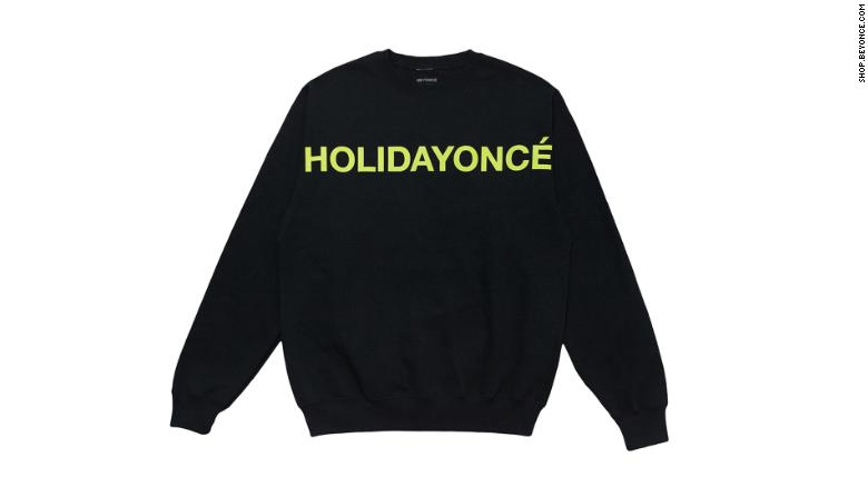 "Sweatshirt from the new holiday collection with ""Holidayoncé"" graphic."