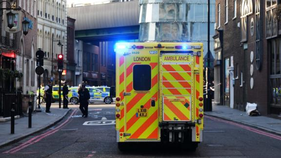 An ambulance makes its way to the scene of the attack.