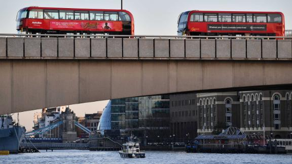 Empty buses are seen parked on London Bridge.