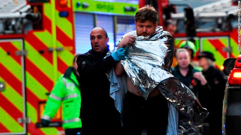 A man and woman were killed in the attack on Friday, police said. Three others, a man and two women, were injured.