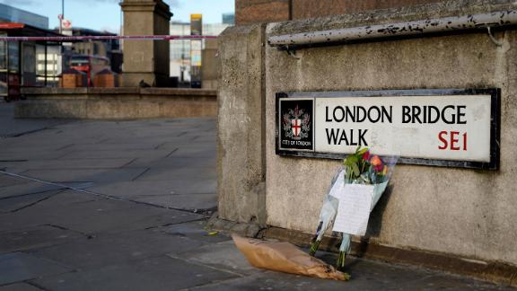 Floral tributes near London Bridge on Saturday, November 30.