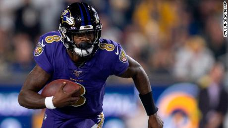Baltimore Ravens quarterback Lamar Jackson is on pace to break the record for rushing yards by a quarterback in a season.