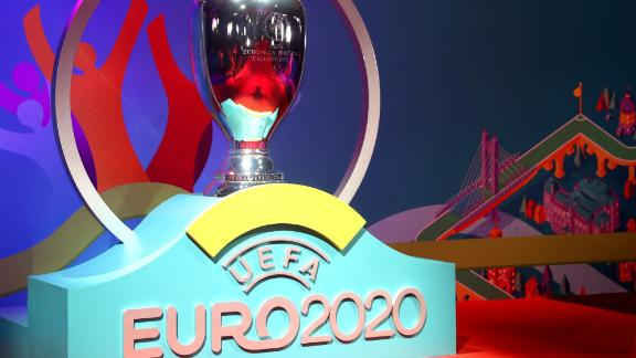 BUCHAREST, ROMANIA - NOVEMBER 30: General view of a replica trophy is seen prior to the UEFA Euro 2020 Final Draw Ceremony at the Romexpo on November 30, 2019 in Bucharest, Romania. (Photo by Dean Mouhtaropoulos/Getty Images)