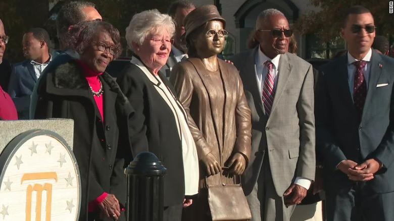 A statue of Rosa Parks, seen here, is unveiled in Montgomery, Alabama, on Sunday, December 1, 2019.