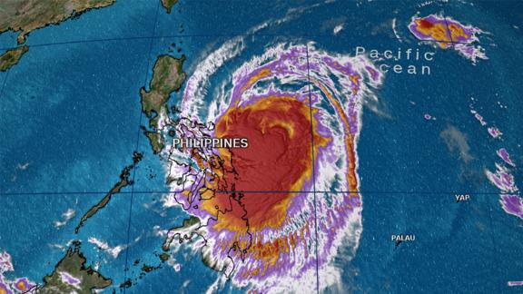 Typhoon Kammuri is seen on radar as of 11 a.m. Philippines time.