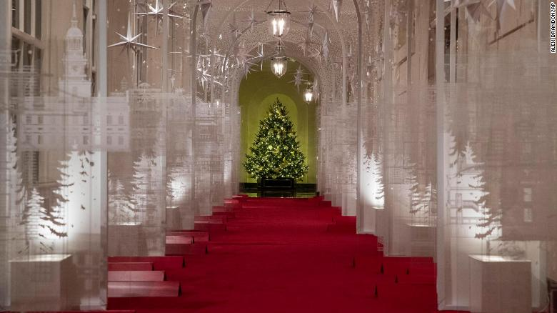 "The East Colonnade is decorated with a timeline of American design, innovation and architecture during the 2019 Christmas preview at the White House, Monday, December 2, 2019, in Washington. This year's theme is, ""The Spirit of America."""
