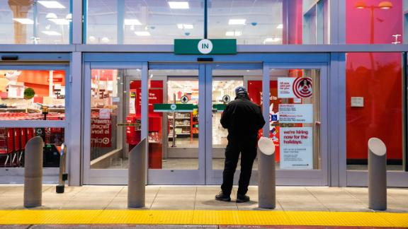 EMERYVILLE, CA - NOVEMBER 29: A lone Black Friday shopper waits for the opening of a Target store on November 29, 2019 in Emeryville, United States. Black Friday is traditionally the biggest shopping event of the year, and marks the beginning of the holiday shopping season. (Photo by Philip Pacheco/Getty Images)