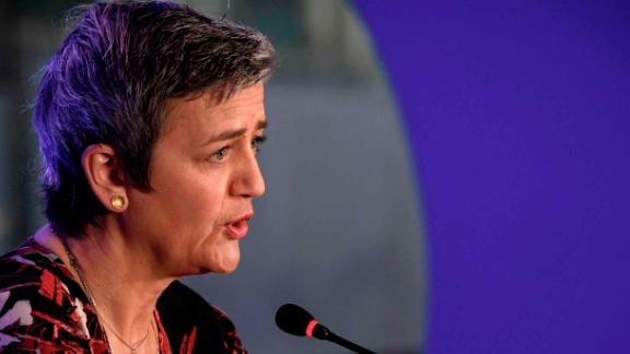 European Commissioner for Competition Margrethe Vestager speaks during a press conference on the last day of the Web Summit in Lisbon on November 7, 2019. - Europe