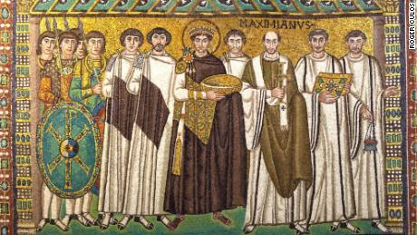 A mosaic featuring Justinian 1, center, who was the emperor of the Eastern Roman Empire at the time of the plague outbreak.