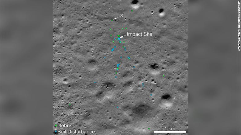 This image shows the Vikram Lander impact point and associated debris field.